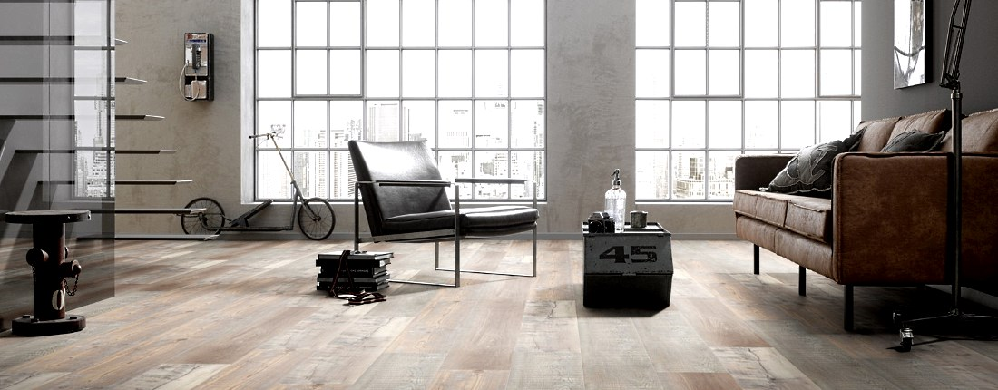 ter Huerne Rigid-Core Designboden BRIGHT CHOICE Pinie Valencia beigegrau matt Lange Landhausdiele